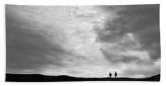 Beach Towel featuring the photograph Hikers Under The Clouds by Joe Bonita
