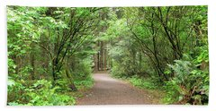 Hiking Trail Along Lewis And Clark River Beach Towel