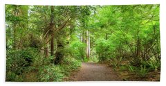 Hiking Trail Through Forest Along Lewis And Clark River Beach Towel