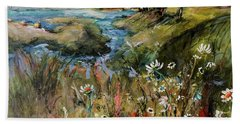 Hill Top Wildflowers Beach Sheet by Sharon Furner