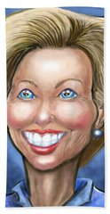 Hillary Clinton Caricature Beach Towel by Kevin Middleton