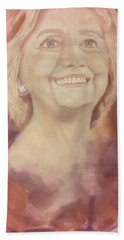 Beach Towel featuring the painting Hillary Clinton by Raymond Doward