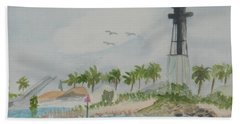 Beach Sheet featuring the painting Hillsborough Lighthouse by Donna Walsh