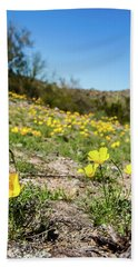 Beach Towel featuring the photograph Hillside Flowers by Ed Cilley