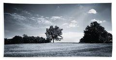 Hilly Black White Landscape Beach Towel