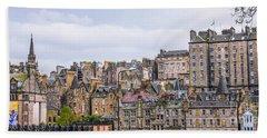Hilly Skyline Of Edinburgh Beach Towel