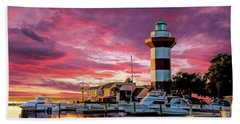 Beach Towel featuring the painting Hilton Head Harbour Town Lighthouse by Christopher Arndt