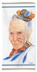 Himalayan Smile Lines -- Portrait Of Old Asian Woman Beach Towel