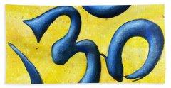 Beach Towel featuring the painting Hindu Om Symbol Art by Bob Baker