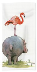 Hippo With Flamingo Beach Towel