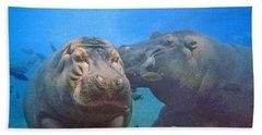 Hippos In Love Beach Towel by Steve Karol