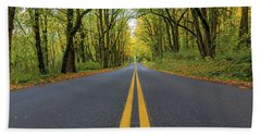 Historic Columbia River Highway Two Way Lanes In Fall Beach Towel