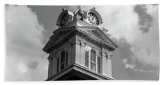 Historic Courthouse Steeple In Bw Beach Towel