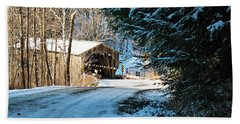 Historic Grist Mill Covered Bridge Beach Towel
