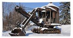 Historic Mining Steam Shovel During Alaska Winter Beach Sheet