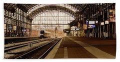 Historic Railway Station In Haarlem The Netherland Beach Sheet