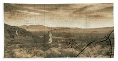 Historic Rhyolite Nevada With Map Beach Towel by Bartz Johnson
