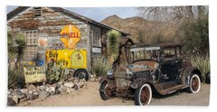 Historic Route 66 - Old Car And Shed Beach Towel