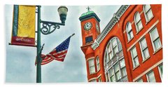 Beach Towel featuring the photograph Historic Staunton Virginia - The Clocktower - Art Of The Small Town by Kerri Farley
