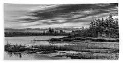 Historic Whitebog Landscape Black - White Beach Towel
