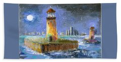 Historical 1859 South Channel Lights Full Moon Beach Sheet