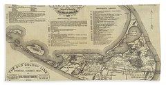 Historical Map Of Nantucket From 1602-1886 Beach Sheet