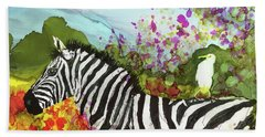 Beach Towel featuring the painting Hitching A Ride by Suzanne Canner