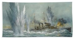 Hms Exeter Engaging In The Graf Spree At The Battle Of The River Plate Beach Towel
