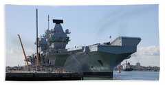Hms Queen Elizabeth Aircraft Carrier At Portmouth Harbour Beach Towel