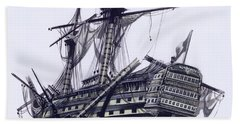Hms Victory After The Battle Of Trafalgar, With Mizzen Topmast Shot Away Beach Towel