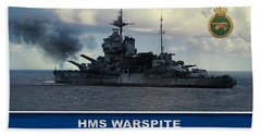 Beach Towel featuring the digital art Hms Warspite by John Wills