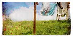 Hobbit Clothesline And Poppies Beach Sheet