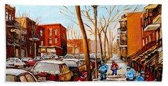 Beach Towel featuring the painting Hockey On St Urbain Street by Carole Spandau