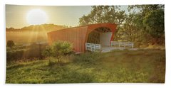 Beach Towel featuring the photograph Hogback Covered Bridge 2 by Susan Rissi Tregoning