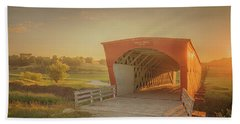 Beach Towel featuring the photograph Hogback Covered Bridge by Susan Rissi Tregoning