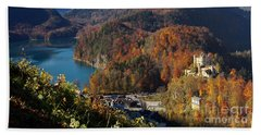Hohenschwangau Castle And Alpsee In Bavaria Beach Towel by Rudi Prott