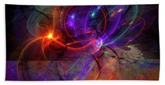 Hold On Love - Abstract Colorful Art Beach Towel by Modern Art Prints