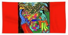 Beach Towel featuring the digital art Holi by Latha Gokuldas Panicker