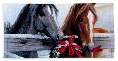 Holiday Barnyard Beach Sheet by Judyann Matthews