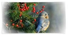 Holiday Blue Bird Beach Sheet by Barbara S Nickerson