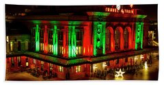 Holiday Lights At Union Station Denver Beach Towel by Teri Virbickis