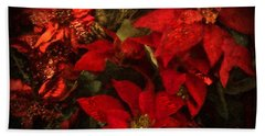 Holiday Painted Poinsettias Beach Towel