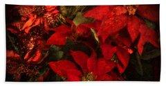 Holiday Painted Poinsettias Beach Sheet