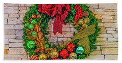 Holiday Wreath Beach Towel