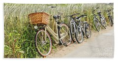 Holland - Bicycles Parked Along The Fence Beach Sheet