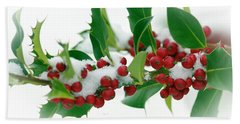 Beach Towel featuring the photograph Holly Berries On White by Sharon Talson