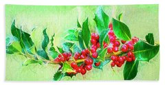 Beach Towel featuring the photograph Holly Berries Photo Art by Sharon Talson