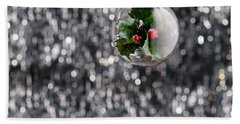 Beach Towel featuring the photograph Holly Christmas Bauble  by Ulrich Schade