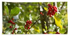 Holly With Berries Beach Towel by Chevy Fleet
