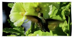Hollyhock Hummer Beach Towel